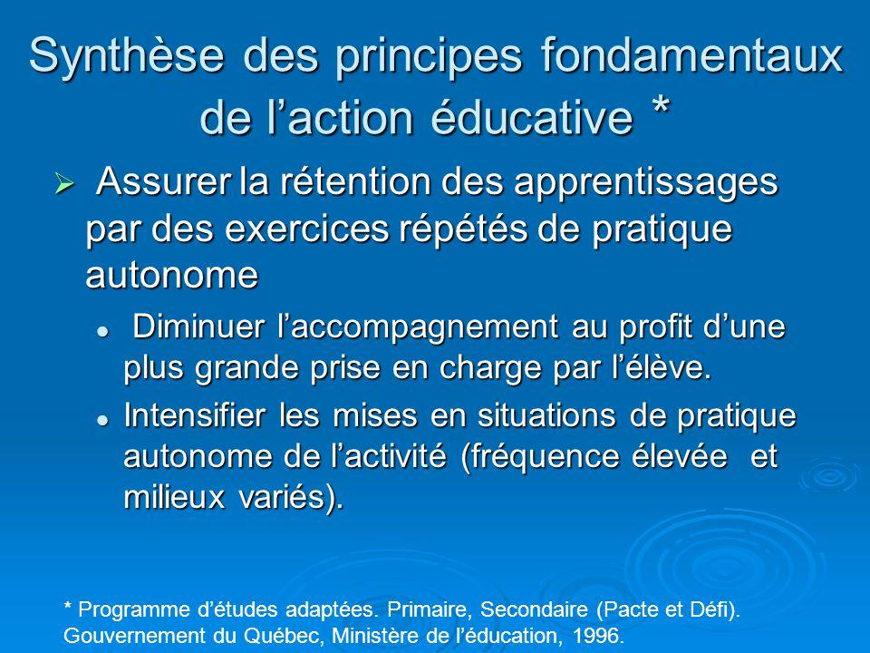 Synthèse des principes fondamentaux de laction éducative * Assurer la rétention des apprentissages par des exercices répétés de pratique autonome Assu