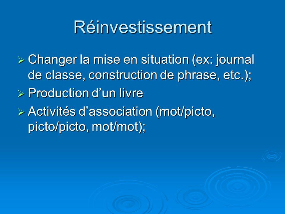 Réinvestissement Changer la mise en situation (ex: journal de classe, construction de phrase, etc.); Changer la mise en situation (ex: journal de clas
