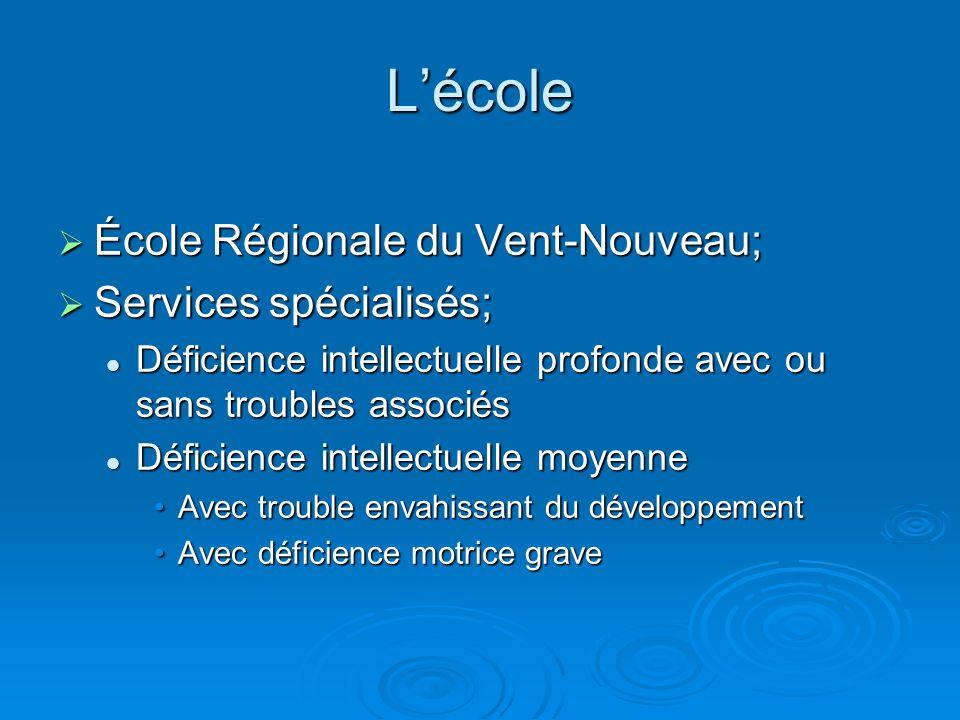 Lécole École Régionale du Vent-Nouveau; École Régionale du Vent-Nouveau; Services spécialisés; Services spécialisés; Déficience intellectuelle profond