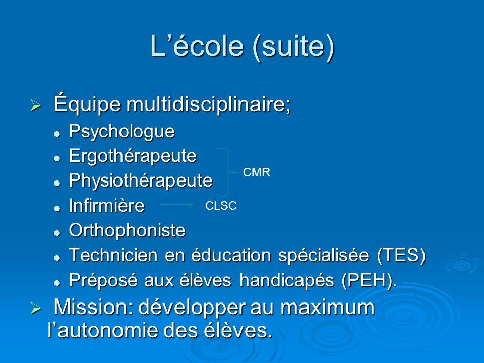 Lécole (suite) Équipe multidisciplinaire; Équipe multidisciplinaire; Psychologue Psychologue Ergothérapeute Ergothérapeute Physiothérapeute Physiothér