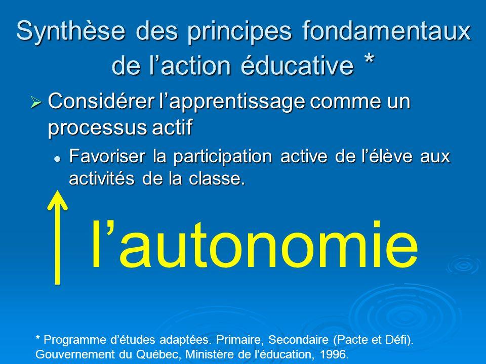 Synthèse des principes fondamentaux de laction éducative * Considérer lapprentissage comme un processus actif Considérer lapprentissage comme un proce