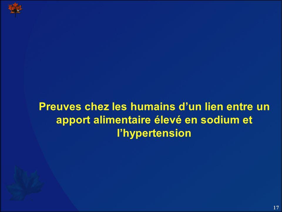 17 Preuves chez les humains dun lien entre un apport alimentaire élevé en sodium et lhypertension