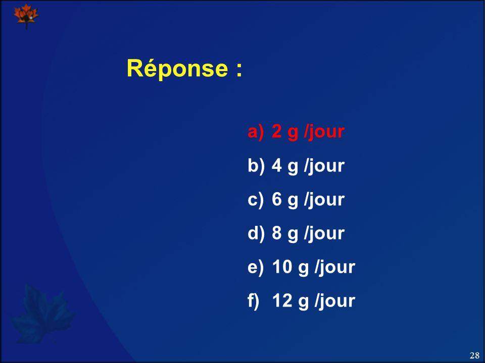 28 Réponse : a)2 g /jour b)4 g /jour c)6 g /jour d)8 g /jour e)10 g /jour f)12 g /jour