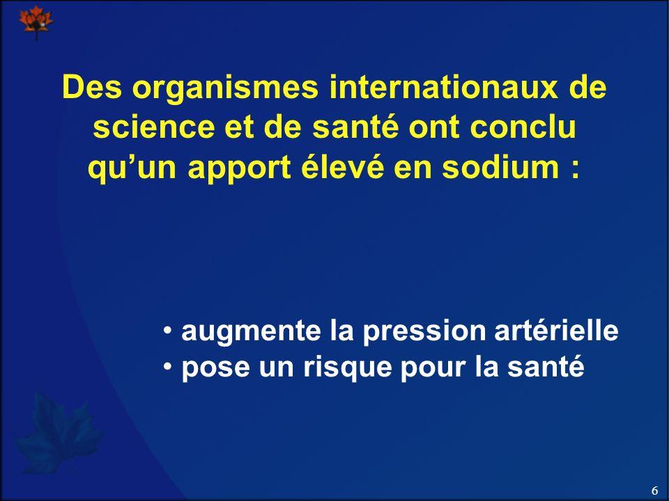6 Des organismes internationaux de science et de santé ont conclu quun apport élevé en sodium : augmente la pression artérielle pose un risque pour la santé