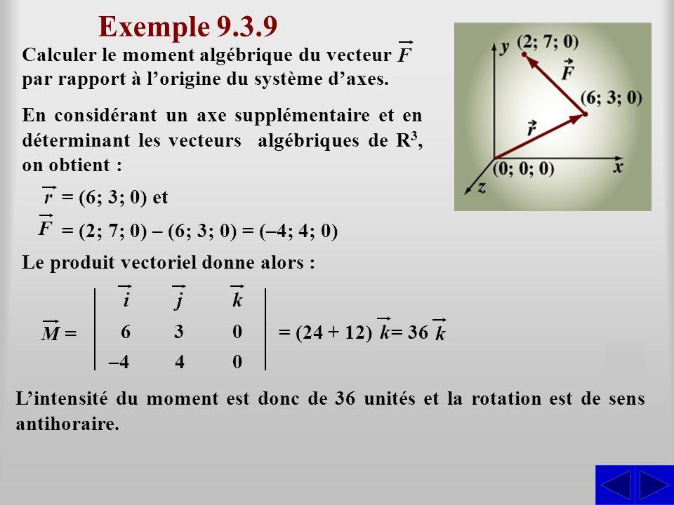 Exemple 9.3.9 SS Le produit vectoriel donne alors : r= (6; 3; 0) et F = (2; 7; 0) – (6; 3; 0) = (–4; 4; 0) = (24 + 12) ijk 630 –440 M = Lintensité du