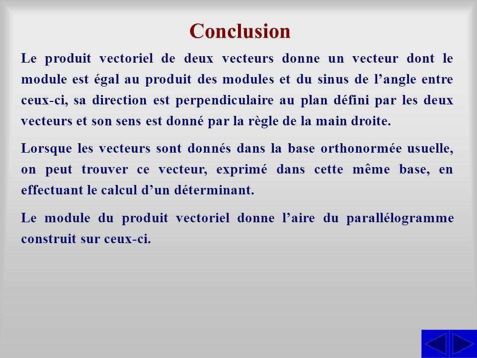 Conclusion Le produit vectoriel de deux vecteurs donne un vecteur dont le module est égal au produit des modules et du sinus de langle entre ceux-ci,