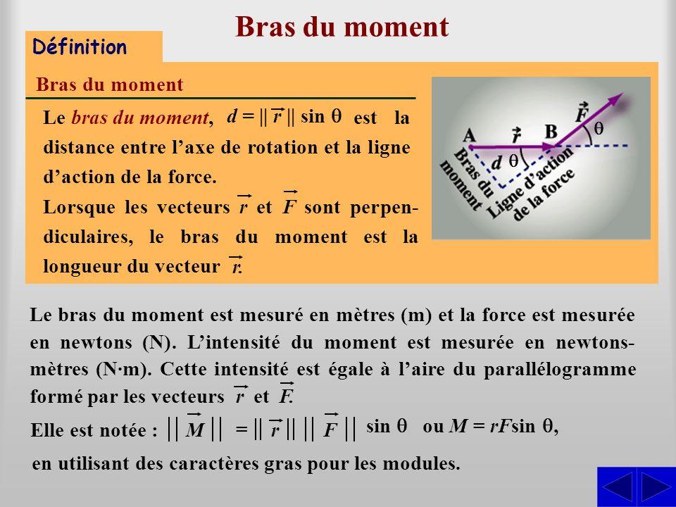 Bras du moment Définition Bras du moment en utilisant des caractères gras pour les modules. est la distance entre laxe de rotation et la ligne daction