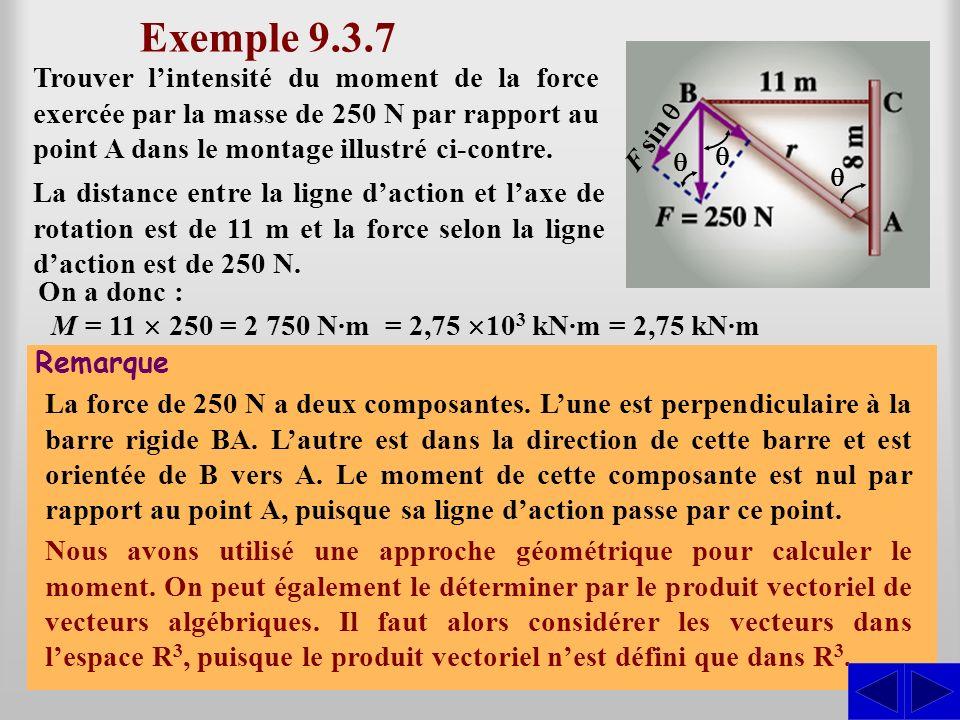 Exemple 9.3.7 S Trouver lintensité du moment de la force exercée par la masse de 250 N par rapport au point A dans le montage illustré ci-contre. Doù