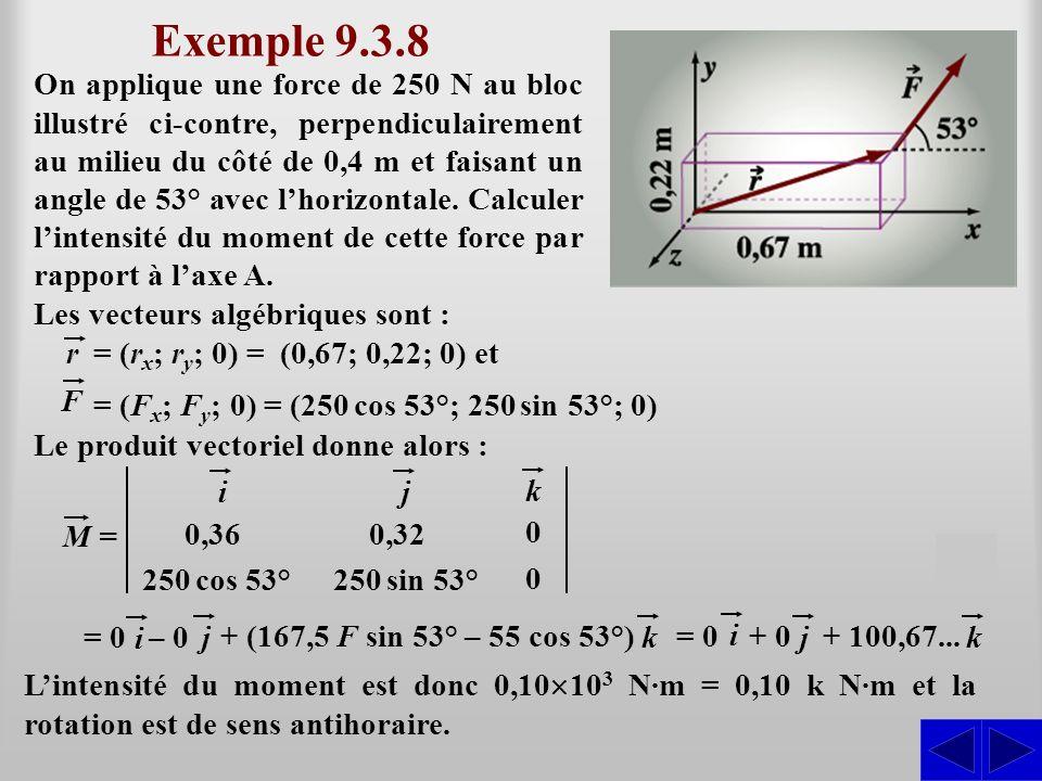 Exemple 9.3.8 S On applique une force de 250 N au bloc illustré ci-contre, perpendiculairement au milieu du côté de 0,4 m et faisant un angle de 53° a
