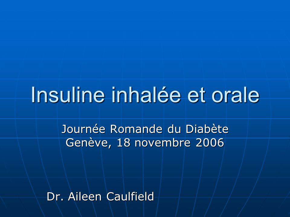 Insuline inhalée et orale Journée Romande du Diabète Genève, 18 novembre 2006 Dr. Aileen Caulfield