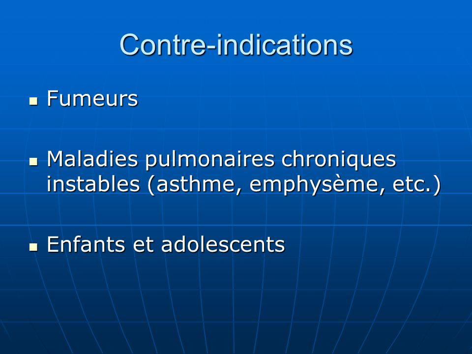 Contre-indications Fumeurs Fumeurs Maladies pulmonaires chroniques instables (asthme, emphysème, etc.) Maladies pulmonaires chroniques instables (asth