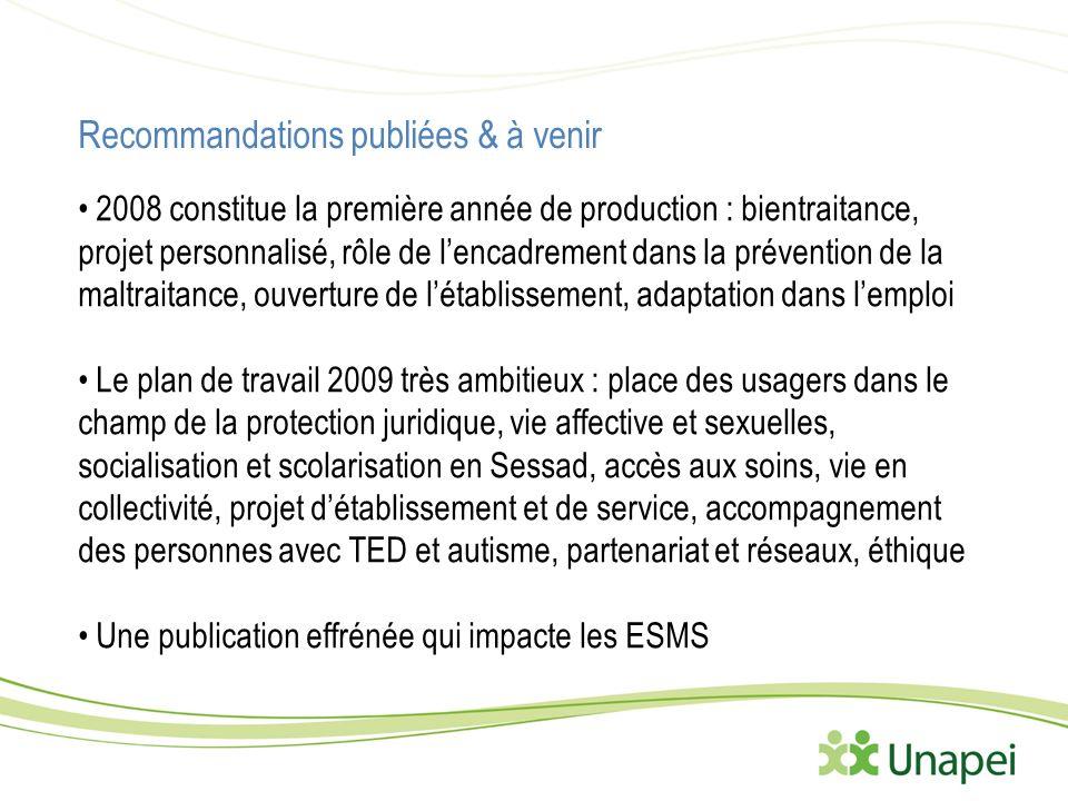 Recommandations publiées & à venir 2008 constitue la première année de production : bientraitance, projet personnalisé, rôle de lencadrement dans la p