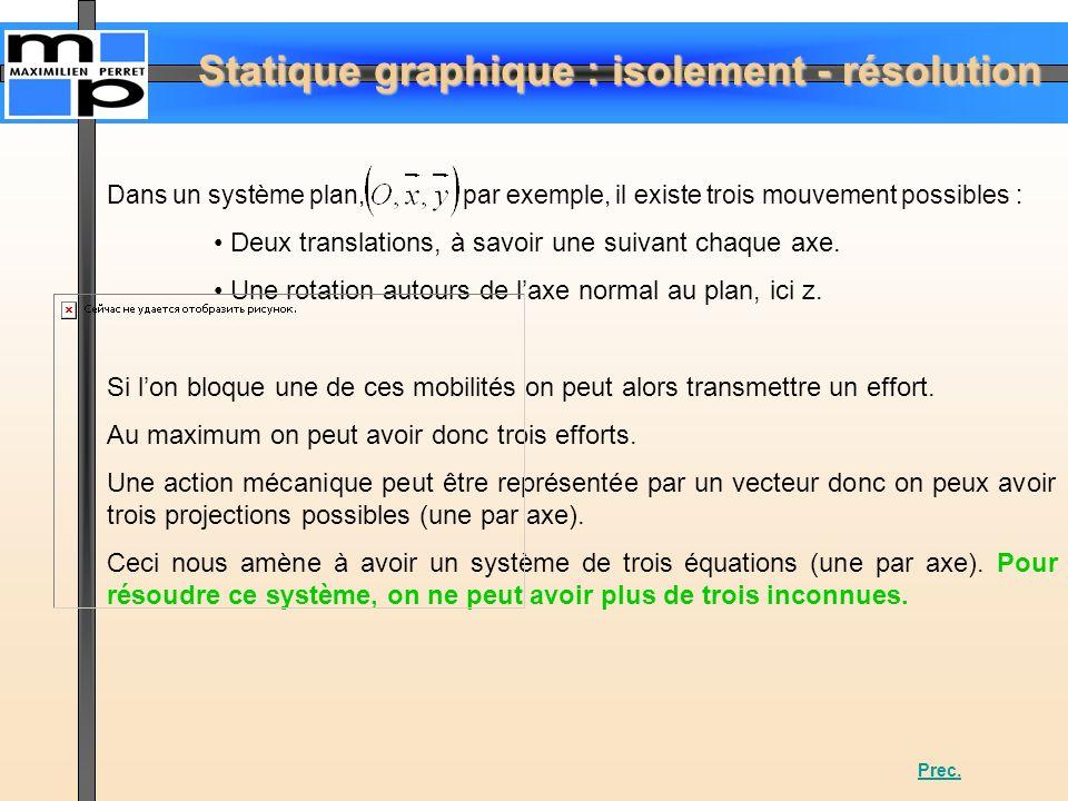 Statique graphique : isolement - résolution Dans un système plan, par exemple, il existe trois mouvement possibles : Deux translations, à savoir une s