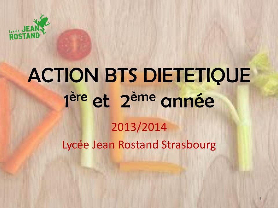 ACTION BTS DIETETIQUE 1 ère et 2 ème année 2013/2014 Lycée Jean Rostand Strasbourg 1