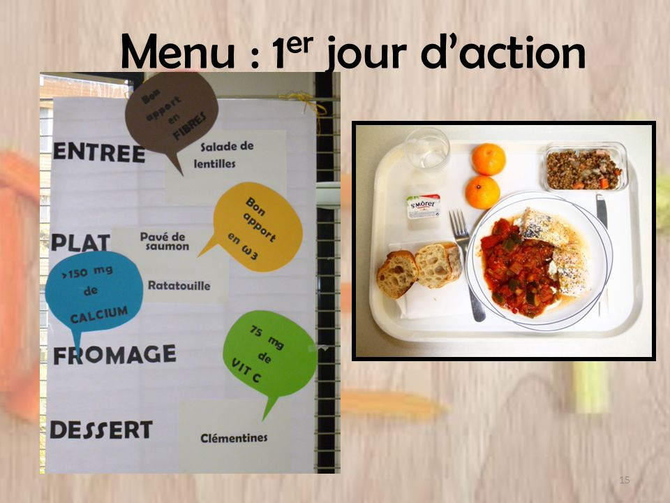 Menu : 1 er jour daction 15