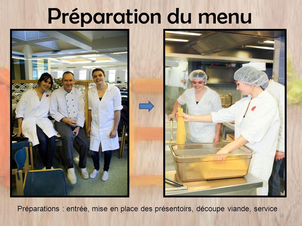 Préparation du menu Préparations : entrée, mise en place des présentoirs, découpe viande, service 18