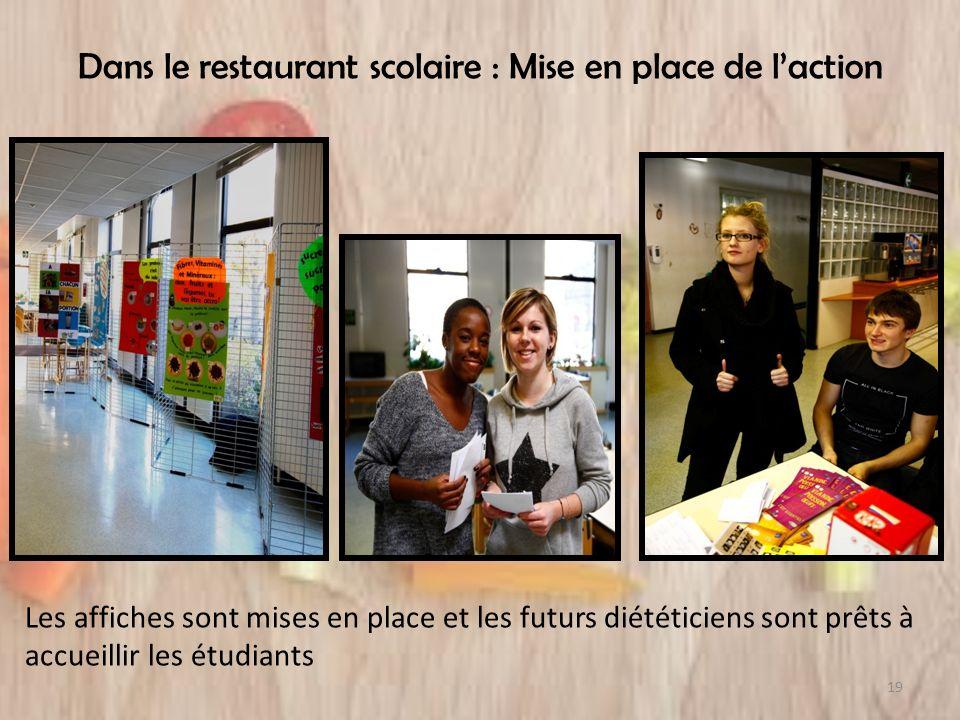 Dans le restaurant scolaire : Mise en place de laction Les affiches sont mises en place et les futurs diététiciens sont prêts à accueillir les étudian