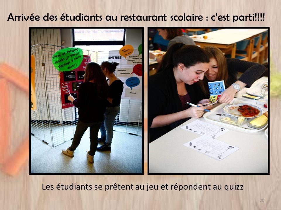 Arrivée des étudiants au restaurant scolaire : cest parti!!!! Les étudiants se prêtent au jeu et répondent au quizz 20