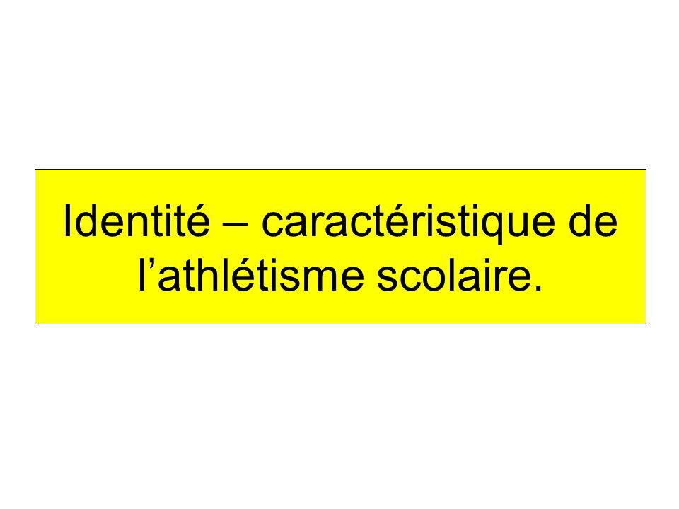 Identité – caractéristique de lathlétisme scolaire.