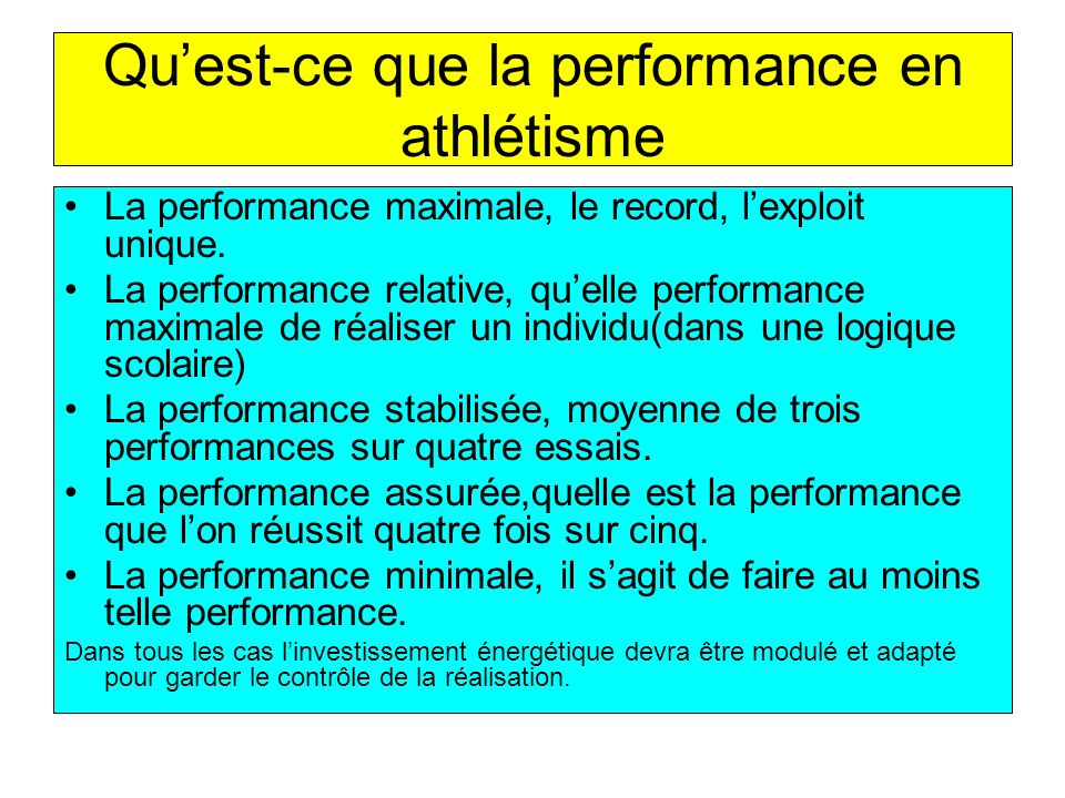 Quest-ce que la performance en athlétisme La performance maximale, le record, lexploit unique. La performance relative, quelle performance maximale de