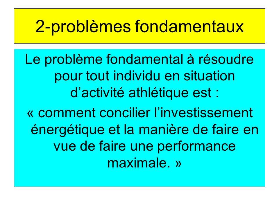2-problèmes fondamentaux Le problème fondamental à résoudre pour tout individu en situation dactivité athlétique est : « comment concilier linvestissement énergétique et la manière de faire en vue de faire une performance maximale.
