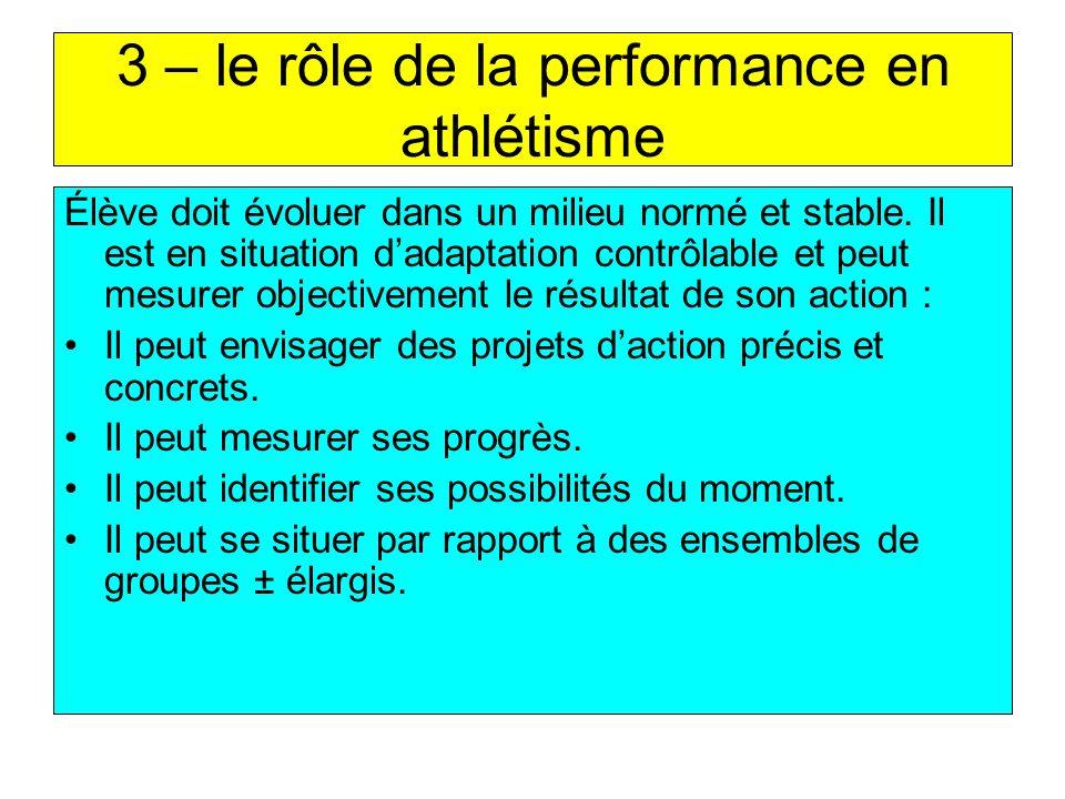 3 – le rôle de la performance en athlétisme Élève doit évoluer dans un milieu normé et stable. Il est en situation dadaptation contrôlable et peut mes