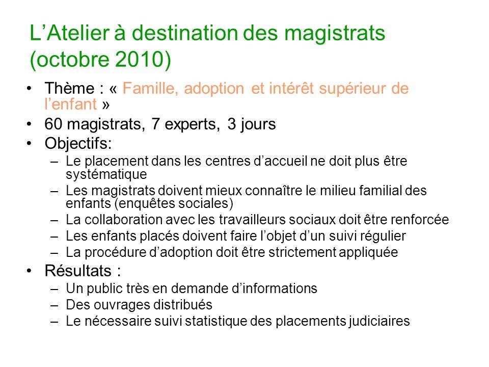 LAtelier à destination des magistrats (octobre 2010) Thème : « Famille, adoption et intérêt supérieur de lenfant » 60 magistrats, 7 experts, 3 jours O