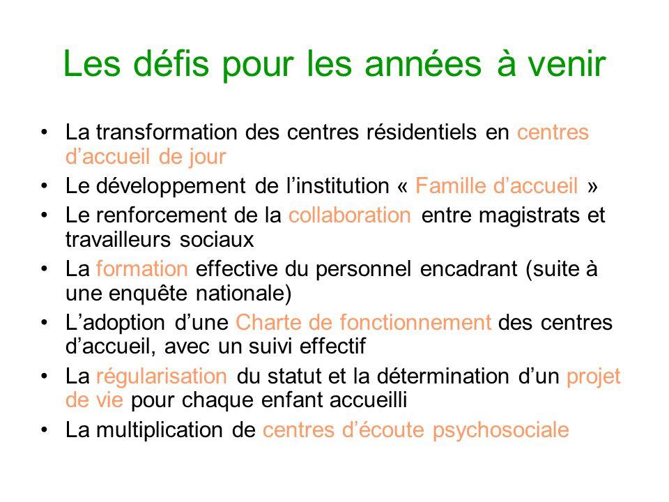 Les défis pour les années à venir La transformation des centres résidentiels en centres daccueil de jour Le développement de linstitution « Famille da