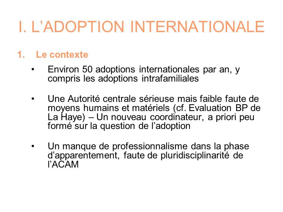 I. LADOPTION INTERNATIONALE 1.Le contexte Environ 50 adoptions internationales par an, y compris les adoptions intrafamiliales Une Autorité centrale s