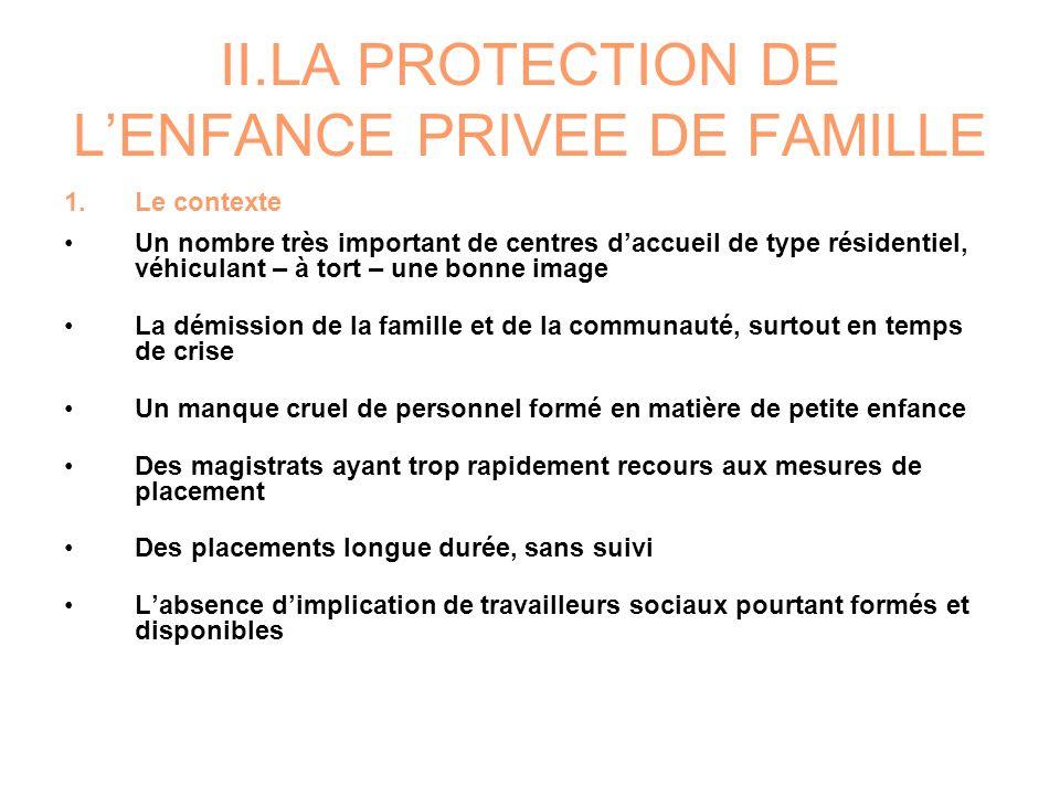 II.LA PROTECTION DE LENFANCE PRIVEE DE FAMILLE 1.Le contexte Un nombre très important de centres daccueil de type résidentiel, véhiculant – à tort – u