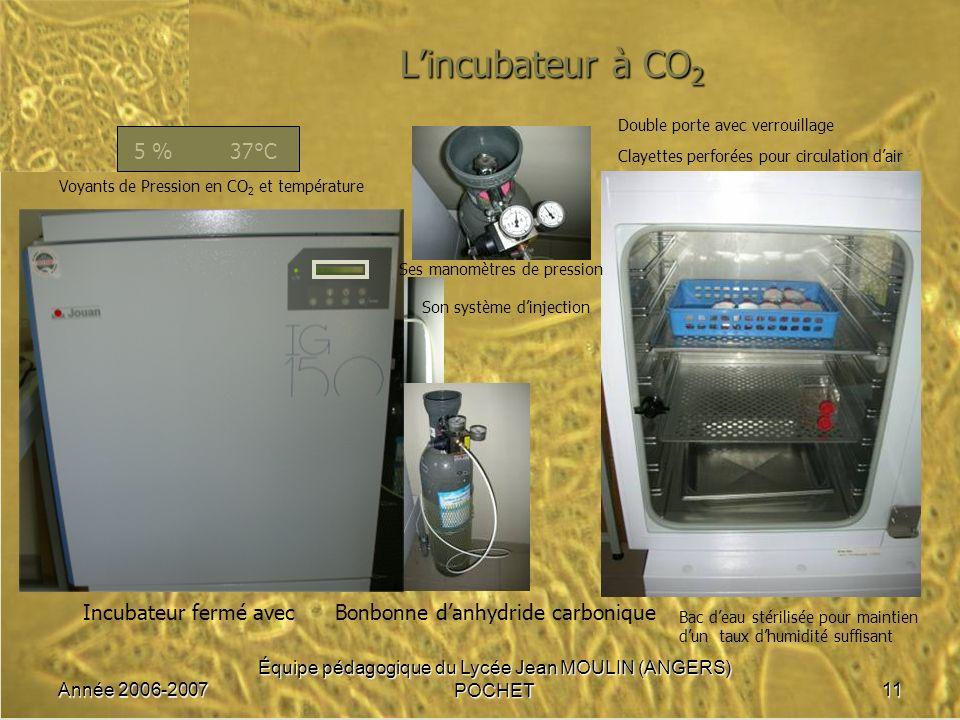 Année 2006-2007 Équipe pédagogique du Lycée Jean MOULIN (ANGERS) POCHET11 Lincubateur à CO 2 5 %37°C Incubateur fermé avec Voyants de Pression en CO 2