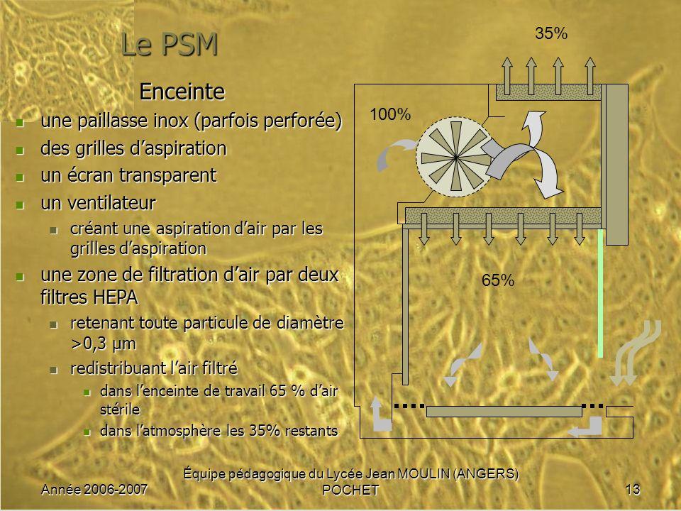 Année 2006-2007 Équipe pédagogique du Lycée Jean MOULIN (ANGERS) POCHET13 Le PSM Enceinte une paillasse inox (parfois perforée) une paillasse inox (pa