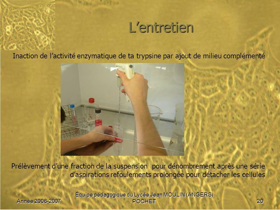 Année 2006-2007 Équipe pédagogique du Lycée Jean MOULIN (ANGERS) POCHET20 Lentretien Inaction de lactivité enzymatique de ta trypsine par ajout de mil