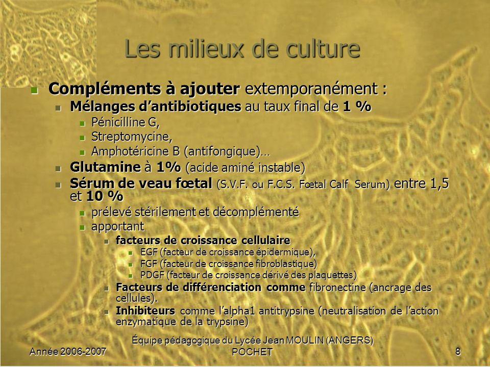 Année 2006-2007 Équipe pédagogique du Lycée Jean MOULIN (ANGERS) POCHET8 Les milieux de culture Compléments à ajouter extemporanément : Compléments à