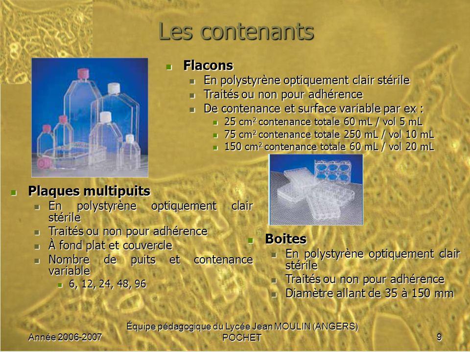 Année 2006-2007 Équipe pédagogique du Lycée Jean MOULIN (ANGERS) POCHET10 Lenvironnement durant lincubation Respectant certains paramètres physico-chimiques nécessaires à la culture cellulaire la température : 37 °C la température : 37 °C l hygrométrie : 84 à 85 % dhumidité l hygrométrie : 84 à 85 % dhumidité le pH 7,4 maintenu grâce aux systèmes tampon le pH 7,4 maintenu grâce aux systèmes tampon du milieu du milieu renforcés par à latmosphère enrichie à 5% de CO 2 (système tampon avec HCO 3 - ) renforcés par à latmosphère enrichie à 5% de CO 2 (système tampon avec HCO 3 - )