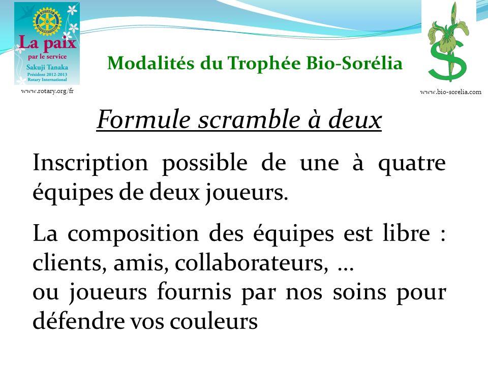 Formule scramble à deux Inscription possible de une à quatre équipes de deux joueurs.