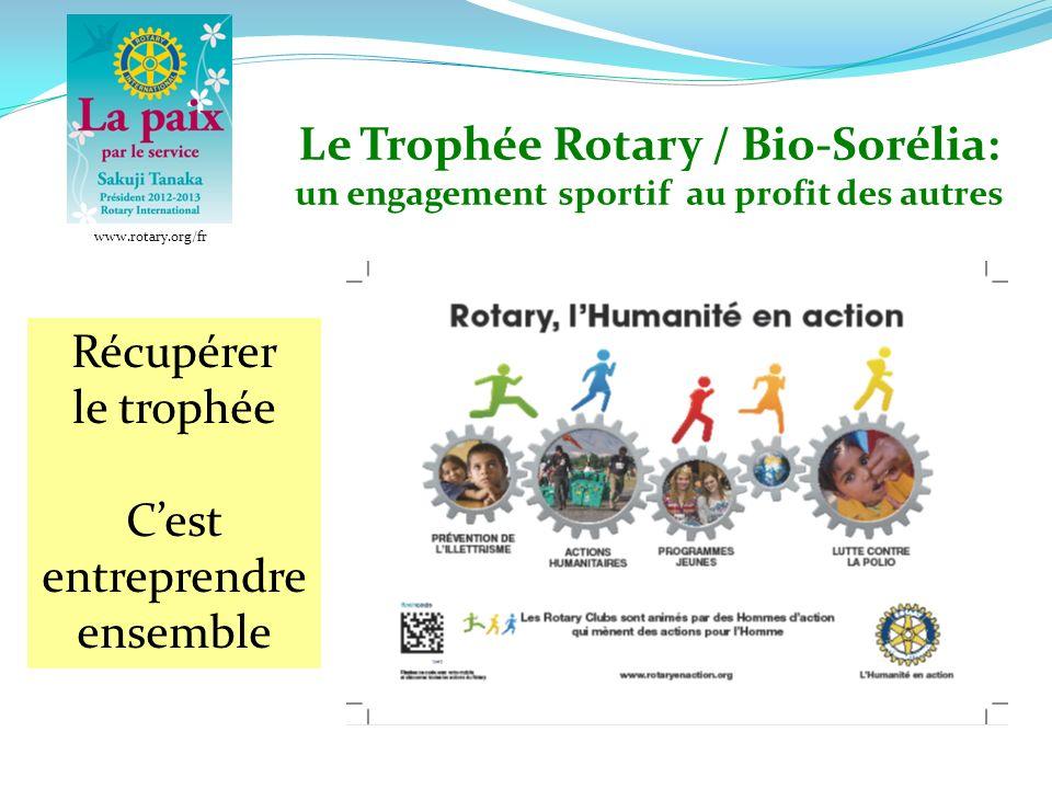 Le Trophée Rotary / Bio-Sorélia: un engagement sportif au profit des autres Récupérer le trophée Cest entreprendre ensemble Une Manifestation organisée par les clubs Rotary de Chartres www.rotary.org/fr