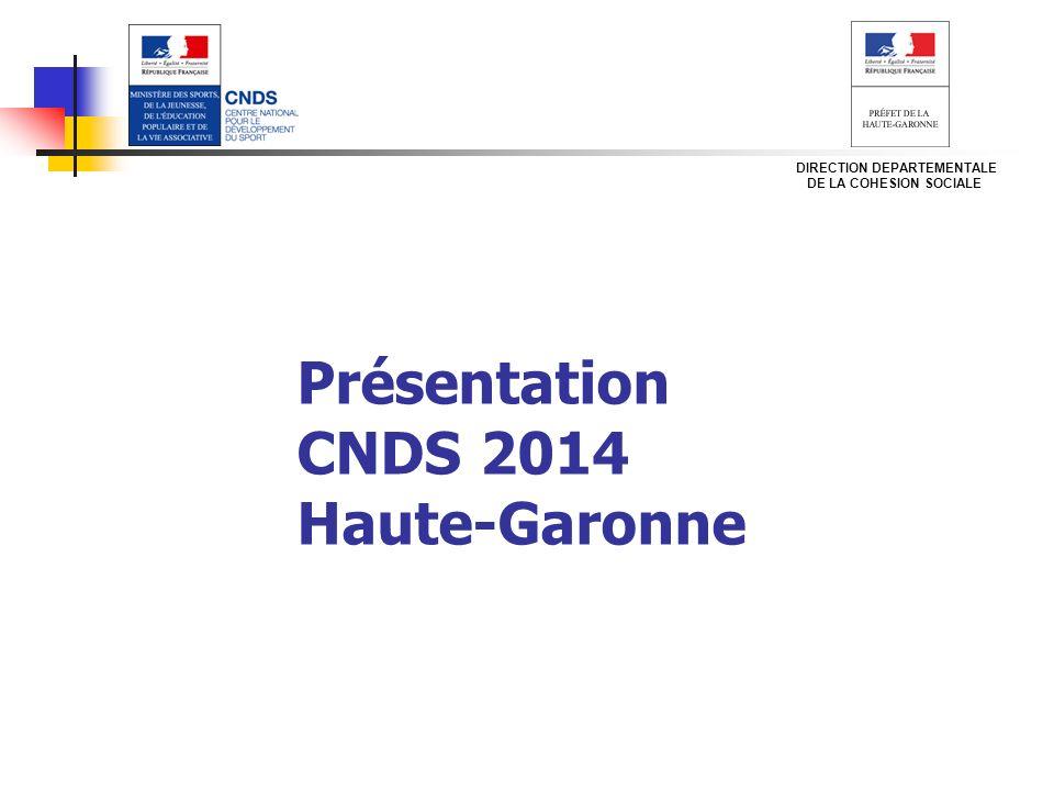 Présentation CNDS 2014 Haute-Garonne DIRECTION DEPARTEMENTALE DE LA COHESION SOCIALE