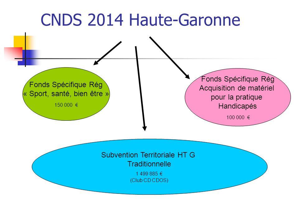 CNDS 2014 Haute-Garonne Subvention Territoriale HT G Traditionnelle 1 499 885 (Club CD CDOS) Fonds Spécifique Rég « Sport, santé, bien être » 150 000 Fonds Spécifique Rég Acquisition de matériel pour la pratique Handicapés 100 000