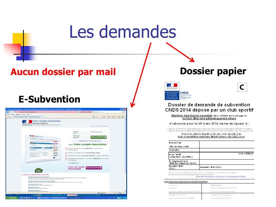 Les demandes E-Subvention Dossier papier Aucun dossier par mail