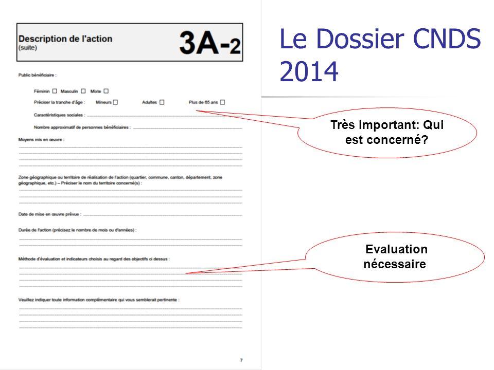 Le Dossier CNDS 2014 Très Important: Qui est concerné? Evaluation nécessaire