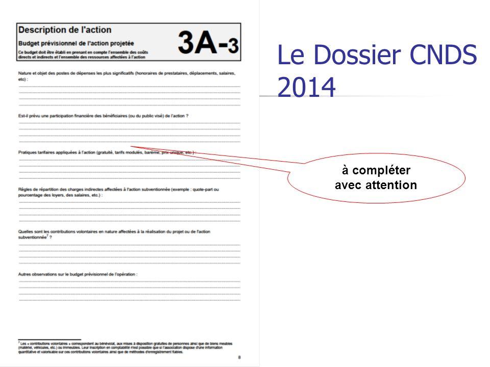 Le Dossier CNDS 2014 à compléter avec attention
