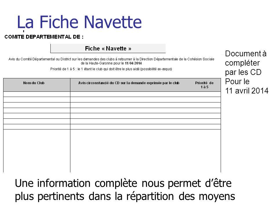 Document à compléter par les CD Pour le 11 avril 2014 La Fiche Navette Une information complète nous permet dêtre plus pertinents dans la répartition des moyens