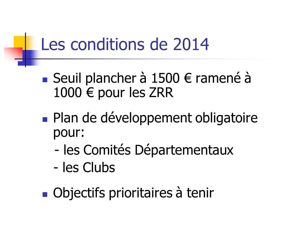 Les conditions de 2014 Seuil plancher à 1500 ramené à 1000 pour les ZRR Plan de développement obligatoire pour: - les Comités Départementaux - les Clubs Objectifs prioritaires à tenir