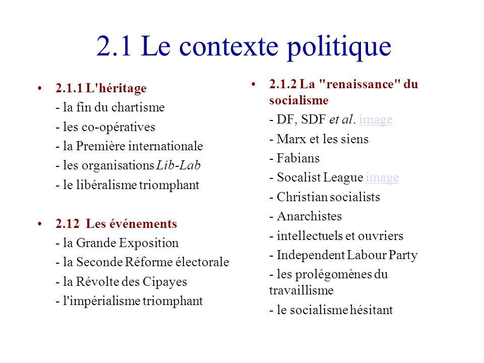 2.1 Le contexte politique 2.1.1L héritage - la fin du chartisme - les co-opératives - la Première internationale - les organisations Lib-Lab - le libéralisme triomphant 2.12Les événements - la Grande Exposition - la Seconde Réforme électorale - la Révolte des Cipayes - l impérialisme triomphant 2.1.2La renaissance du socialisme - DF, SDF et al.