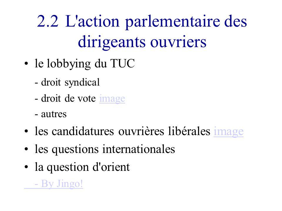 2.2L action parlementaire des dirigeants ouvriers le lobbying du TUC - droit syndical - droit de vote imageimage - autres les candidatures ouvrières libérales imageimage les questions internationales la question d orient - By Jingo!