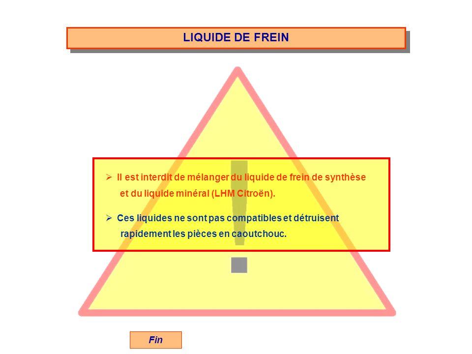 LIQUIDE DE FREIN Fin Il est interdit de mélanger du liquide de frein de synthèse et du liquide minéral (LHM Citroën). Ces liquides ne sont pas compati