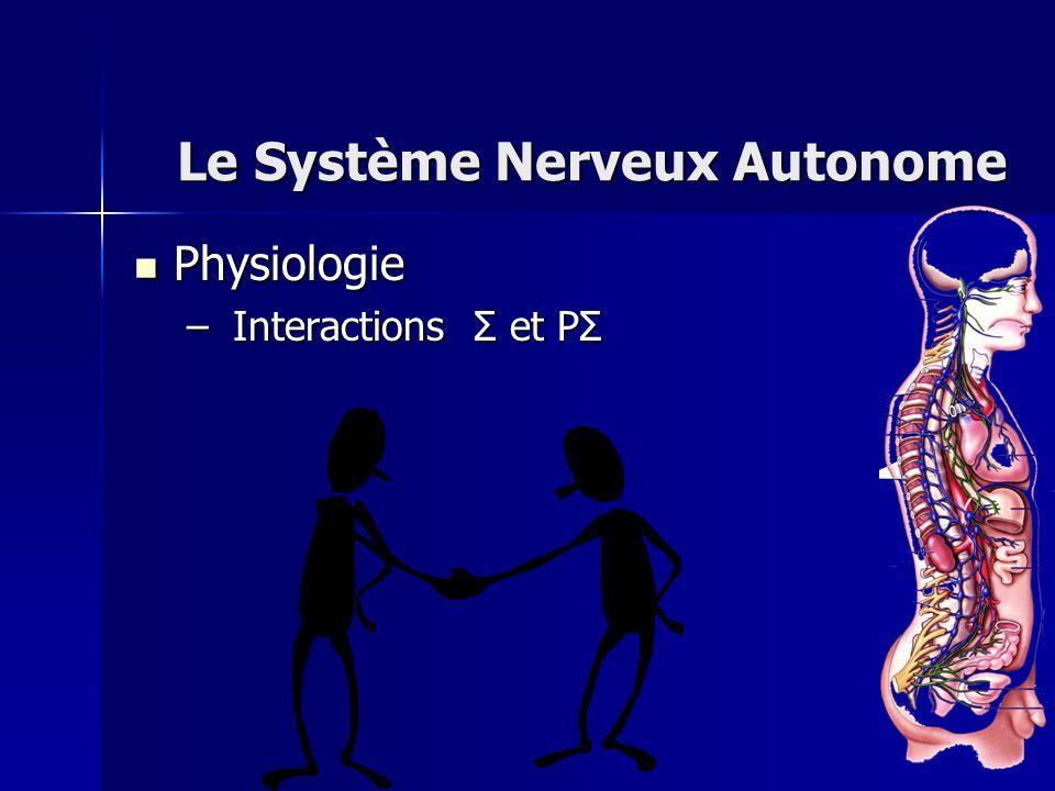 Physiologie Physiologie – Interactions Σ et PΣ Le Système Nerveux Autonome