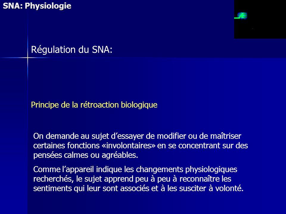 SNA: Physiologie Régulation du SNA: Principe de la rétroaction biologique On demande au sujet dessayer de modifier ou de maîtriser certaines fonctions «involontaires» en se concentrant sur des pensées calmes ou agréables.