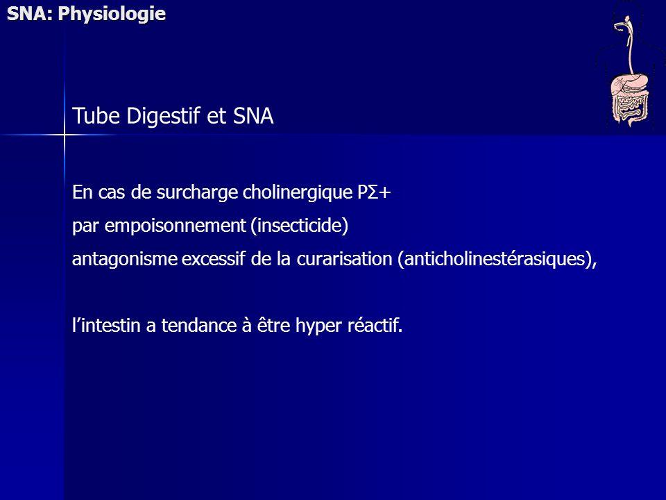 SNA: Physiologie Tube Digestif et SNA En cas de surcharge cholinergique PΣ+ par empoisonnement (insecticide) antagonisme excessif de la curarisation (